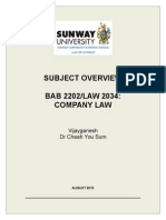 BAB2202LAW 2034 Company Law Subject Overview - 2013(1)(2)