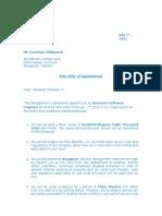 Offer Letter of Sandeep