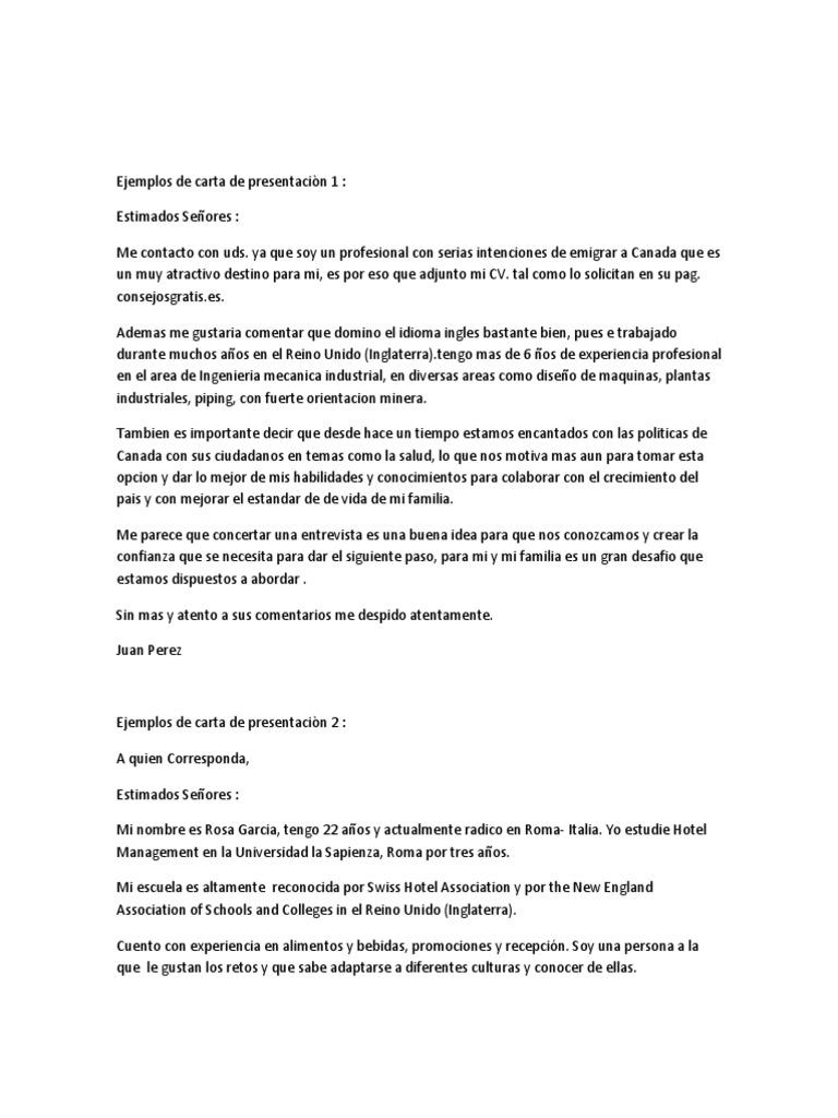 Ejemplos de Carta de Presentaciòn 1