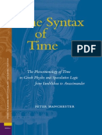 Peter Manchester the Syntax of Time the Phenomenology of Time in Greek Physics and Speculative Logic From Iamblichus to Anaximander Ancient Mediterranean and Medieva