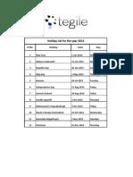 Tegile - Holiday List 2014