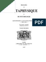 Paul Janet Principes de Métaphysique Et de Psychologie Tome Premier