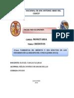 Tarjertas de Crã‰Dito y Sus Efectos en Los Usuarios de La Region Del Cusco (2008-2013)
