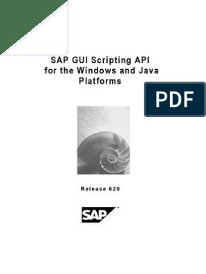 Sap Gui Scripting API   Graphical User Interfaces   Scripting Language