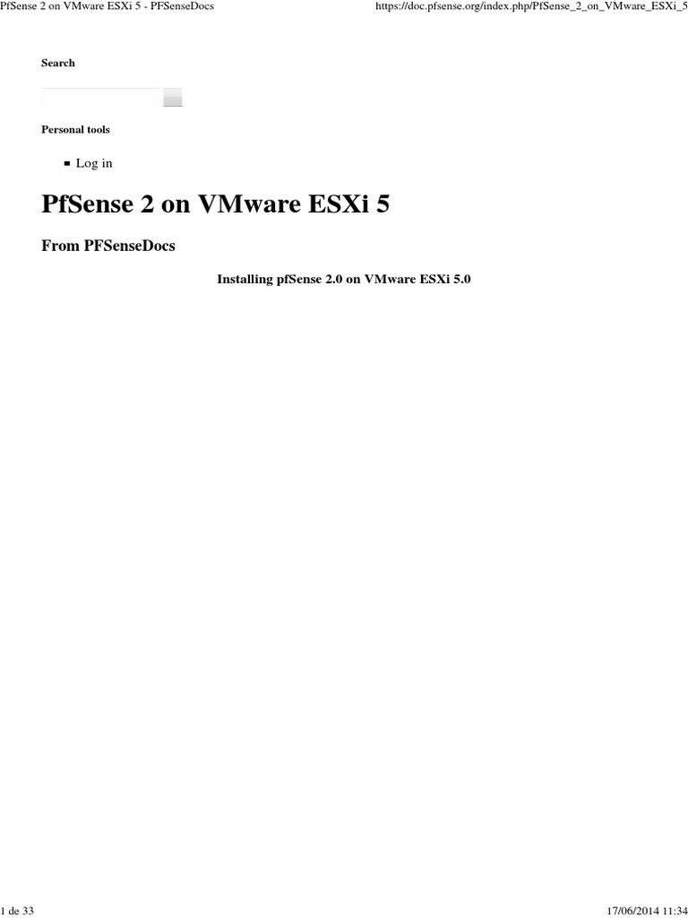 PfSense 2 on VMware ESXi 5 - PFSenseDocs   Network Interface