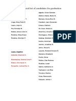Official list of candidates for graduation