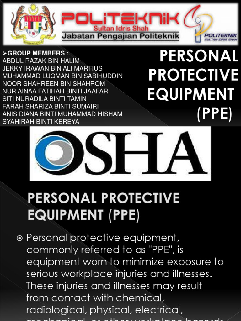 osha ppe - Personal Protective Equipment - Safety - 웹