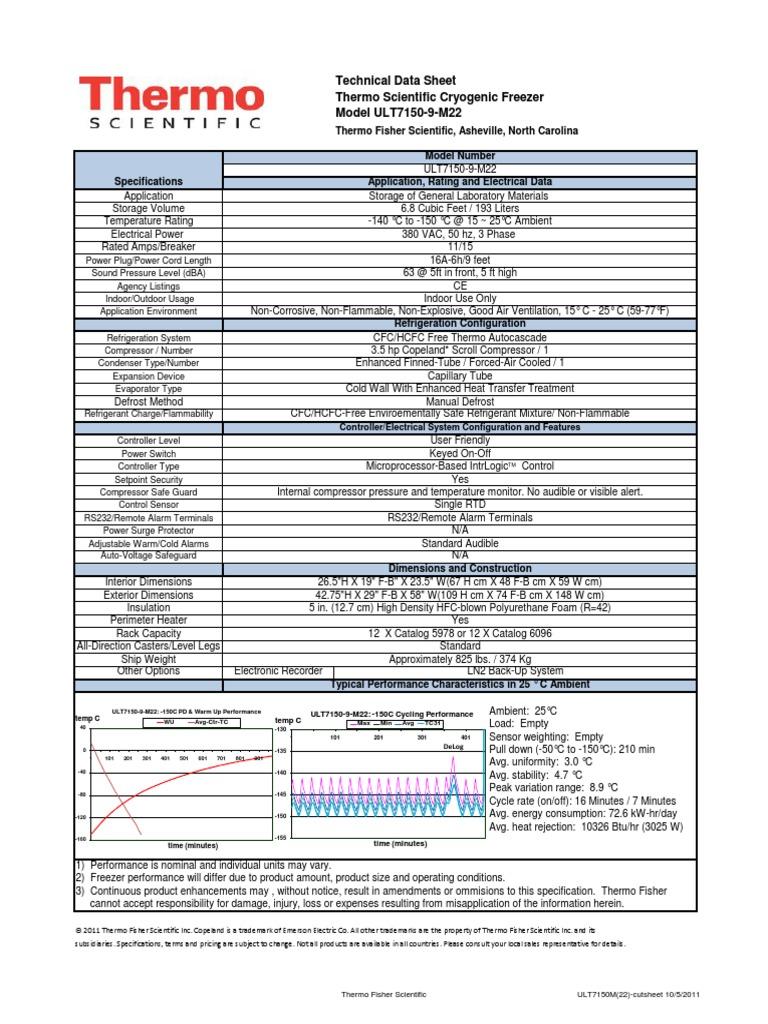ULT7150M(22)-cutsheet | Refrigerator | Hvac