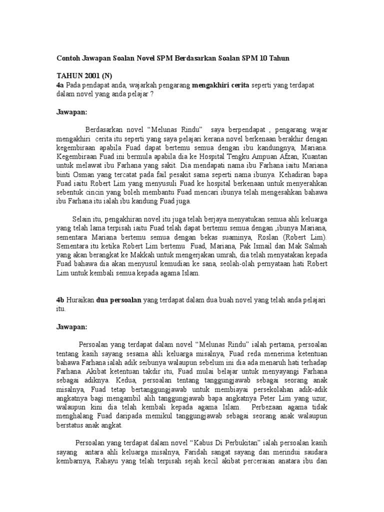 Contoh Jawapan Soalan Novel Spm Berdasarkan Soalan