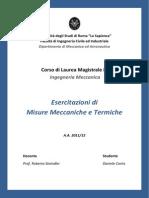 Misure Meccaniche Termiche Esercitazioni