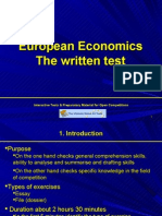 Written test - Economics (essay, drafting rules, languages, topic hints