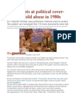 Tebbit Hints at Political Cover-up Over Child Abuse in 1980s
