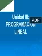 Unidad III- Programacion Lineal