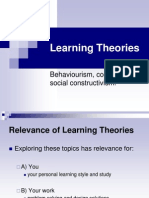 Learning Theories Behaviourism, Cognitivism, Social Constructivism