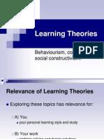 Learning Theories Behaviourism, Cognitivism, Social Constructivism