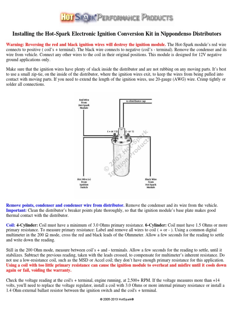 installing hot spark nippondenso ignition system distributorHotspark Ii Electronic Ignition Wiring Diagram #9