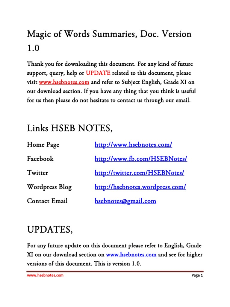 Magic of Words Summaries and Important Questions V1 0