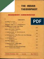 The Indian Theosophist Krishnamurti Commemoration Oct Nov 1986