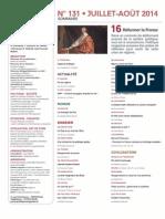Sommaire Politique magazine n°131 - Eté 2014