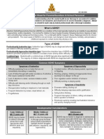 ADHD Quick Fact Sheet for Parents Guardians and School Personnel