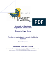 THE PLAN vs. MARKET CONTROVERSY IN THE MARXIST TRADITION  By  Stavros D. Mavroudeas- Dp032014