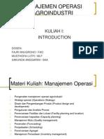 Manajemen Operasi - Pengantar