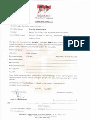 Specimen Surat Mandatpdf