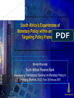 SA Experiences of Monetary Policy Within an Inflation Targetting Policy Framework