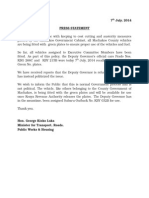 Minister for Transport, Roads, Public Works & Housing Press Statement