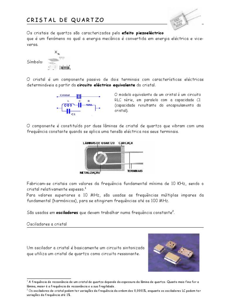 Circuito De Cristais : Oscilador a cristal de quartzo