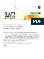 Reiterating My Plea for Mr. Tillerson to Attend the UN Climate Summit 2014