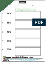 Converting Percentage to Decimals