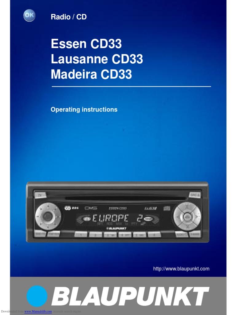 blaupunkt car radio manual cd33 compact disc radio rh scribd com blaupunkt car cd player manual Blaupunkt Car DVD Player