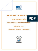 Magister Biotecnologia 2do Llamado
