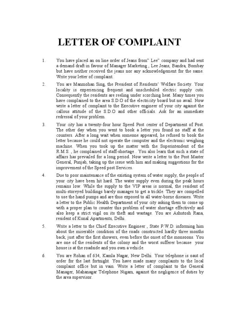 Complain Letters Samples