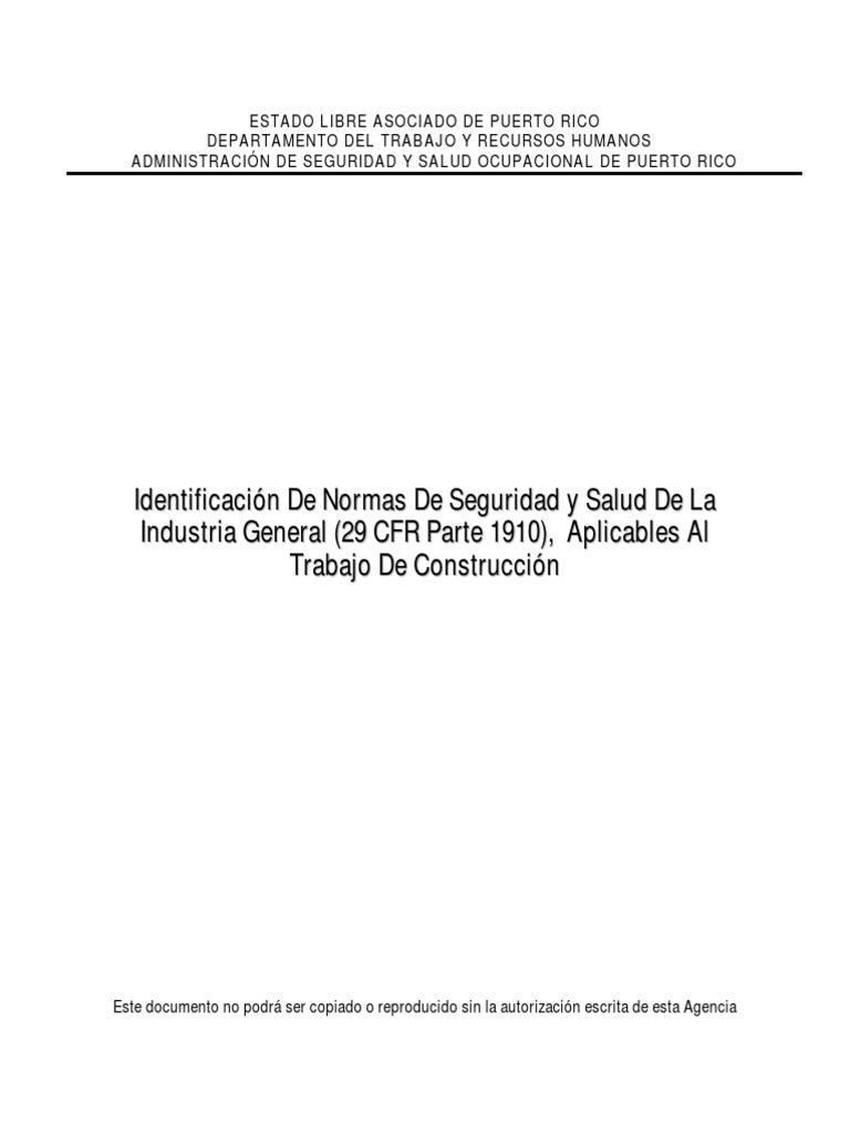 Manual OSHA 29 CFR 1910 Industria General