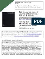 Rethinking Marxism-Sobre La Televisión