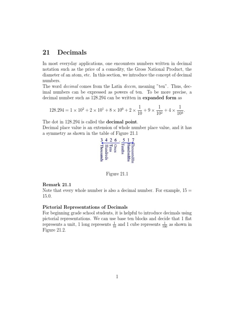 Section21 decimals decimal fraction mathematics falaconquin