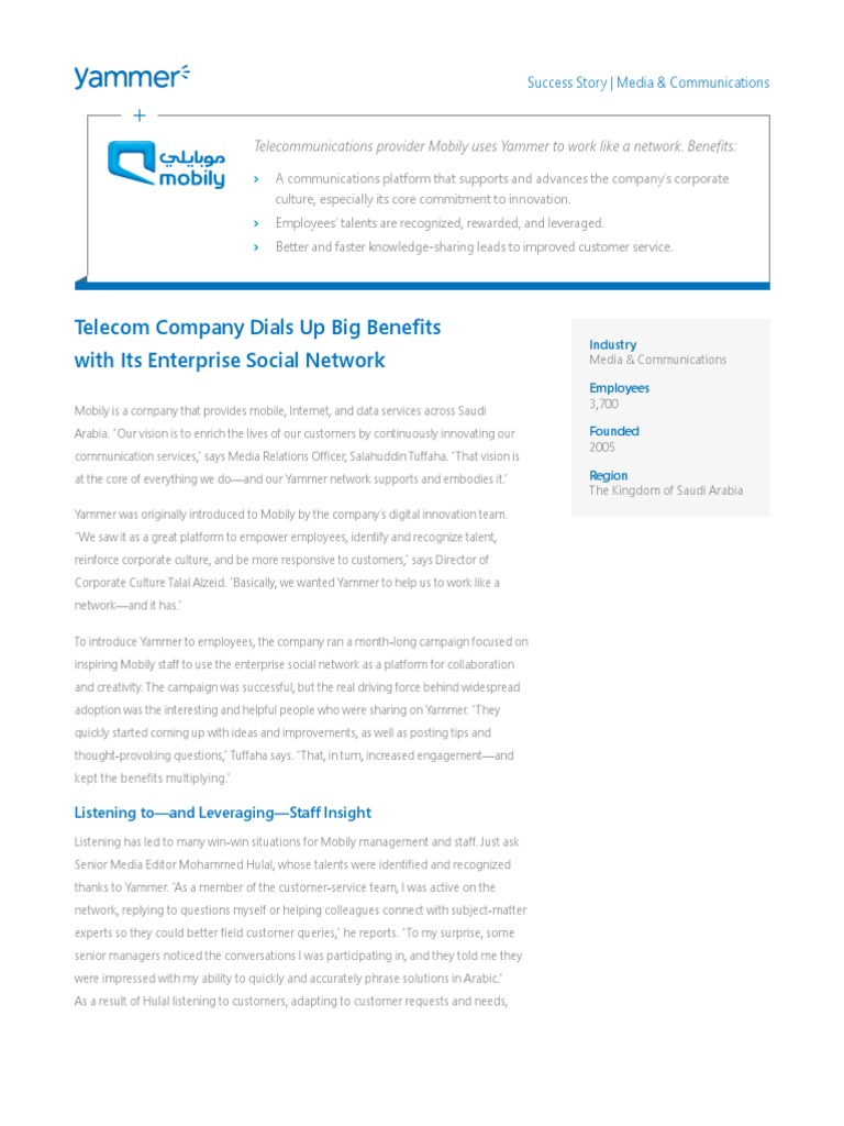 Mobily Case Study | Organizational Culture | Employment