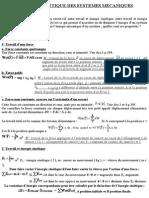Etude Energetique Des Systemes Mecaniques