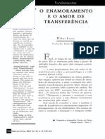 O Enamoramento e o Amor de Transferência (Didier Lauru)