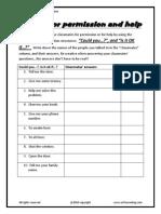 Asking for Permission or Help Speaking Survey Worksheet
