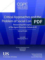 Critical Approaches and the Problem of Social Construction Reassessing the Legacy of the AgentStructure Debate in IR