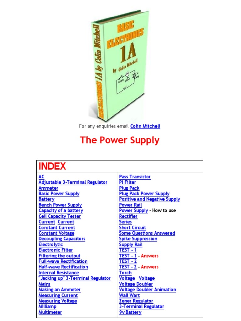 Basic Electronics The Power Supplypdf Rectifier Supply Transformerless 12v