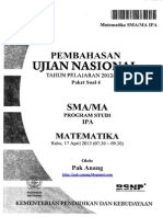 Pembahasan Soal UN Matematika Program IPA SMA 2013 Paket 4