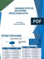 Perkembangan Status Penyelesaian Perda RTRW Provinsi, Kabupaten, dan Kota per 2 Juli 2014