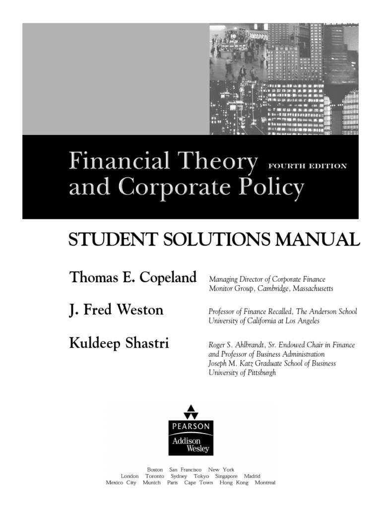 Financial Theory And Corporate Policy(Students solution manual) | Internal  Rate Of Return | Net Present Value
