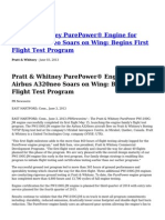 Pratt Whitney PurePower Engine for Airbus A320neo Soars on Wing Begins First Flight Test Program (1)