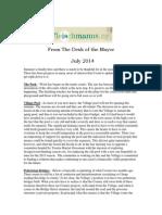 July 2014 Fleischmanns Mayor's Newsletter