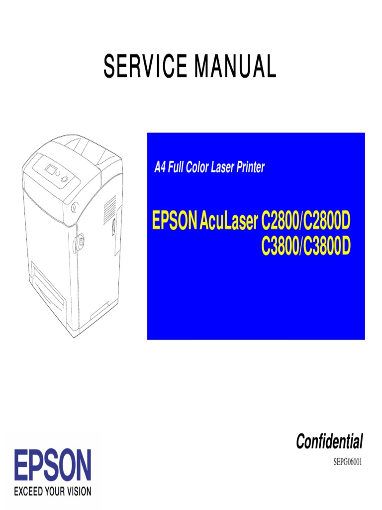 epson aculaser c2800 3800 service manual printer computing rh es scribd com Parts Manual Maintenance Manual